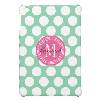 Dark Mint & Pink| Big Polka Dots Monogrammed iPad Mini Covers