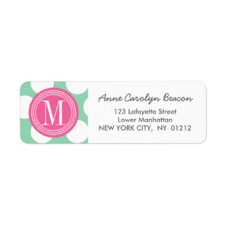 Dark Mint & Pink| Big Polka Dots Monogrammed Label