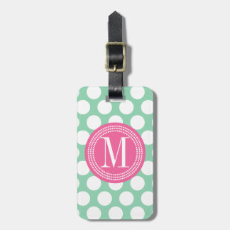 Dark Mint & Pink| Big Polka Dots Monogrammed Luggage Tag