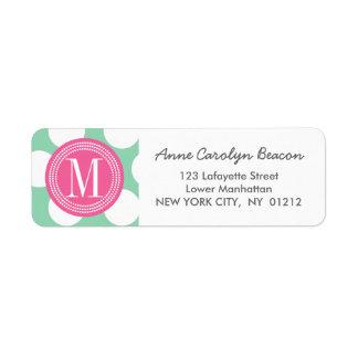 Dark Mint & Pink  Big Polka Dots Monogrammed Return Address Label