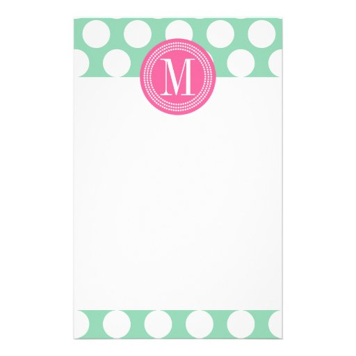 Dark Mint & Pink| Big Polka Dots Monogrammed Stationery Design