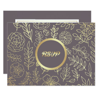 Dark Mocha | Gold Floral Pattern Wedding RSVP Card
