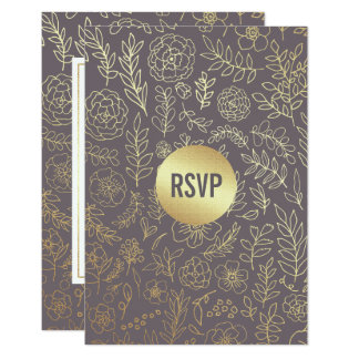 Dark Mocha | Gold Foil Pattern Wedding RSVP Cards