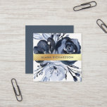 """Dark Modern Floral with Faux Gold Look Square Business Card<br><div class=""""desc"""">These modern and elegant business cards feature beautiful watercolor flowers in black,  white,  and a touch of dark blue. A faux gold look band is centered across the front of the card. We have used art from LABFcreations.</div>"""