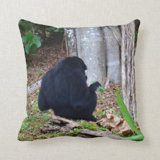 dark monkey in grass back image throw pillow