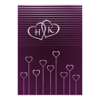 "Dark Monogram Silver Heart Wedding Invitation 5"" X 7"" Invitation Card"