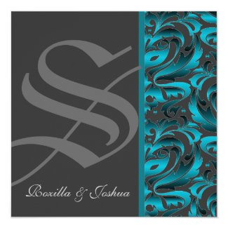 "Dark Monogram Teal Damask Wedding Invitation 5.25"" Square Invitation Card"