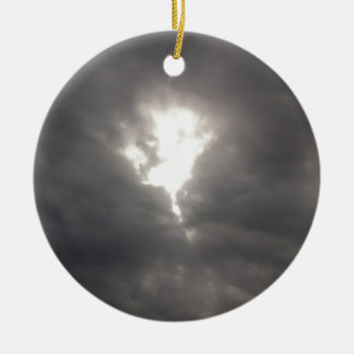 Dark Moods -- Grey clouds in Spring with Sun. Ceramic Ornament