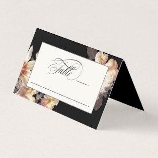 Dark Moody Elegant Floral Wedding Place Card