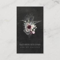 Dark Moody Floral Hummingbird Business Card