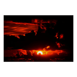 dark moody red sunset sky poster