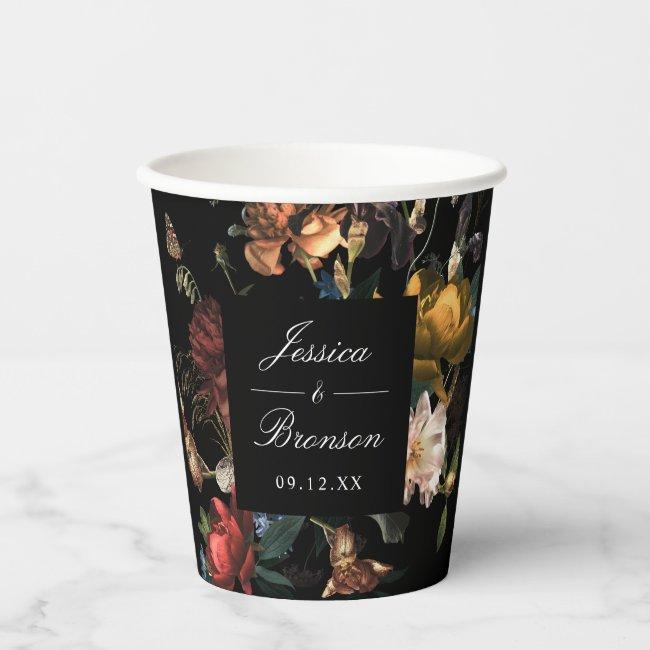 Dark Moody Romantic Floral Dutch Wedding Shower Paper Cups