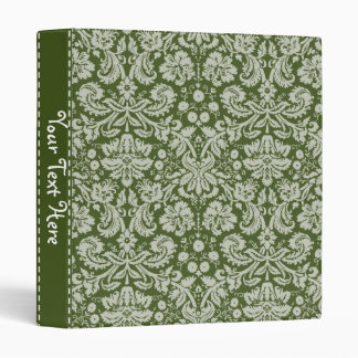 Dark Moss Green Damask 3 Ring Binder