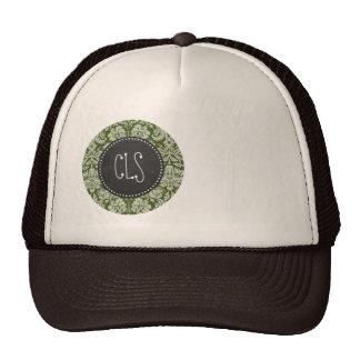 Dark Moss Green Damask; Chalkboard Trucker Hat