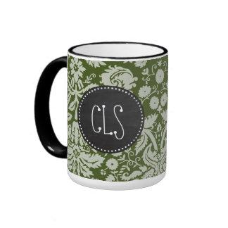 Dark Moss Green Damask; Chalkboard Ringer Coffee Mug
