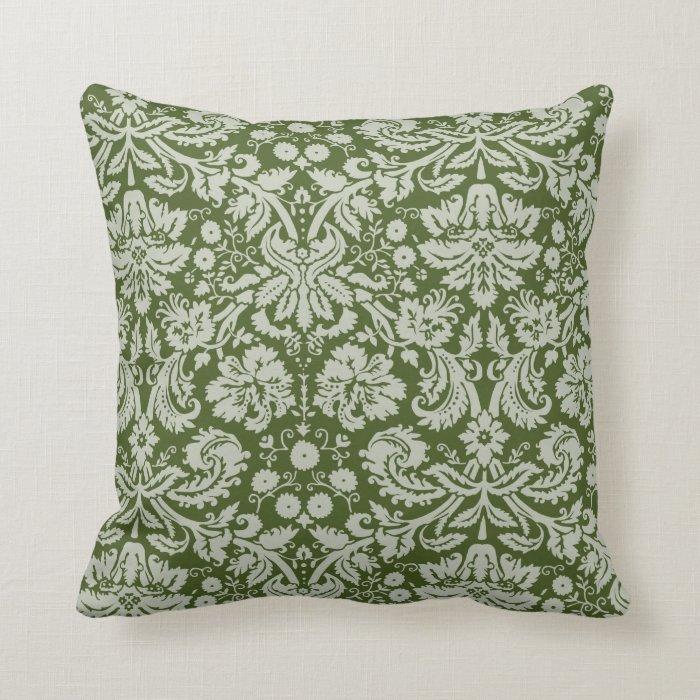 dark moss green damask throw pillow zazzle. Black Bedroom Furniture Sets. Home Design Ideas