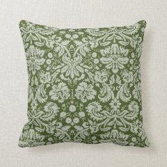 Dark Moss Green Damask Throw Pillows