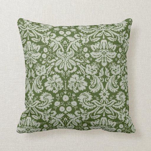 dark moss green damask throw pillows zazzle. Black Bedroom Furniture Sets. Home Design Ideas