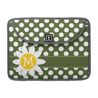 Dark Moss Green Polka Dots; Daisy MacBook Pro Sleeve