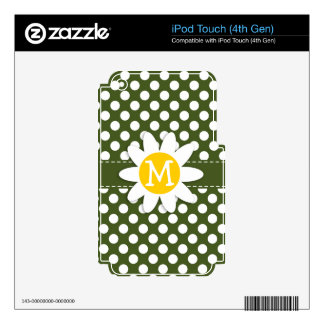 Dark Moss Green Polka Dots Daisy Decal For iPod Touch 4G
