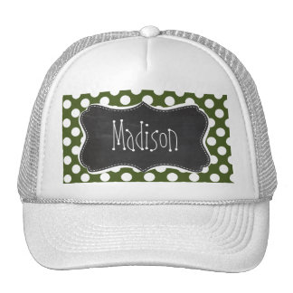 Dark Moss Green Polka Dots Trucker Hat