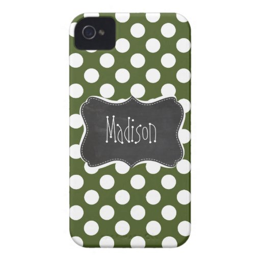 Dark Moss Green Polka Dots iPhone 4 Case