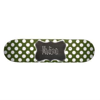Dark Moss Green Polka Dots Custom Skate Board
