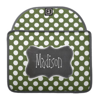 Dark Moss Green Polka Dots Sleeve For MacBook Pro