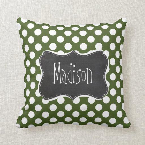 dark moss green polka dots throw pillow zazzle. Black Bedroom Furniture Sets. Home Design Ideas