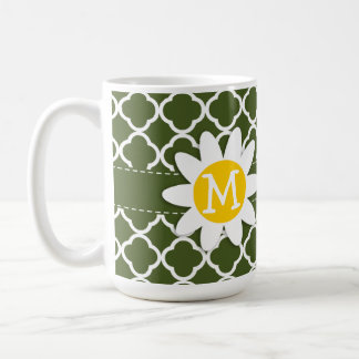 Dark Moss Green Quatrefoil; Daisy Coffee Mugs