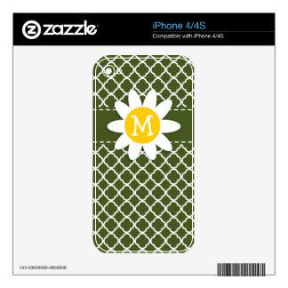 Dark Moss Green Quatrefoil Daisy Decals For The iPhone 4