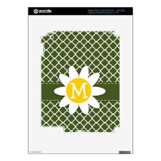 Dark Moss Green Quatrefoil Daisy Skins For iPad 3