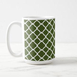 Dark Moss Green Quatrefoil Classic White Coffee Mug