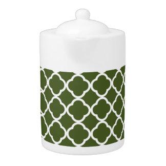 Dark Moss Green Quatrefoil Teapot
