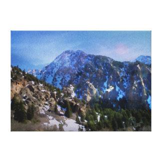 Dark Mountain Watercolor Canvas Prints