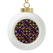 Dark Multicolored Floral Drawing Pattern Ceramic Ball Christmas Ornament