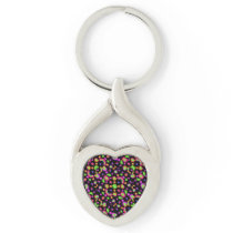 Dark Multicolored Floral Drawing Pattern Keychain