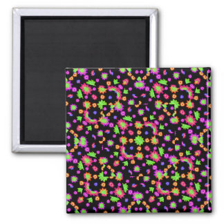 Dark Multicolored Floral Drawing Pattern Magnet
