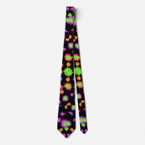 Dark Multicolored Floral Drawing Pattern Neck Tie