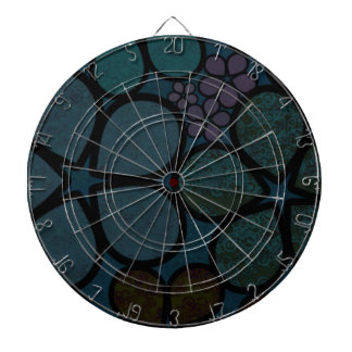 Dark Multicolored Modern Textured Circle Florals Dartboard With Darts