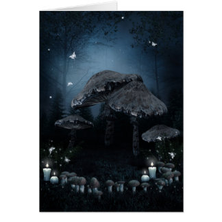 Dark Mushroom Ring Note Card