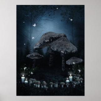 Dark Mushroom Ring Poster