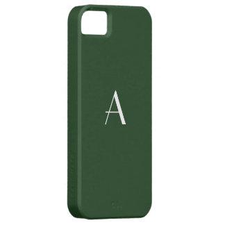 Dark Myrtle Green White Monogram iPhone SE/5/5s Case