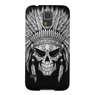 Dark Native Sugar Skull with Headdress Case For Galaxy S5