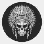 Dark Native Sugar Skull with Headdress Classic Round Sticker
