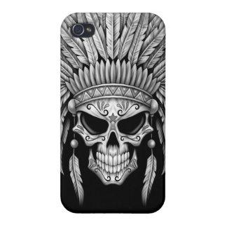 Dark Native Sugar Skull with Headdress iPhone 4 Covers