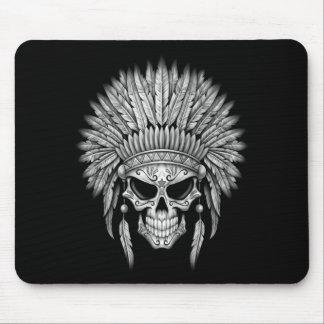 Dark Native Sugar Skull with Headdress Mouse Pad