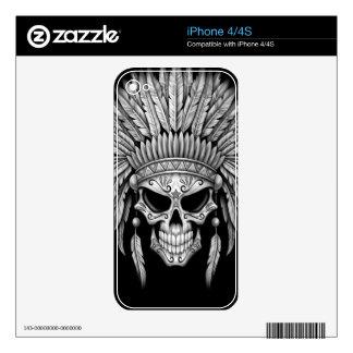 Dark Native Sugar Skull with Headdress Decal For iPhone 4