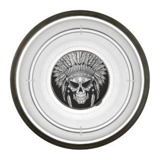 Dark Native Sugar Skull with Headdress Pet Bowl