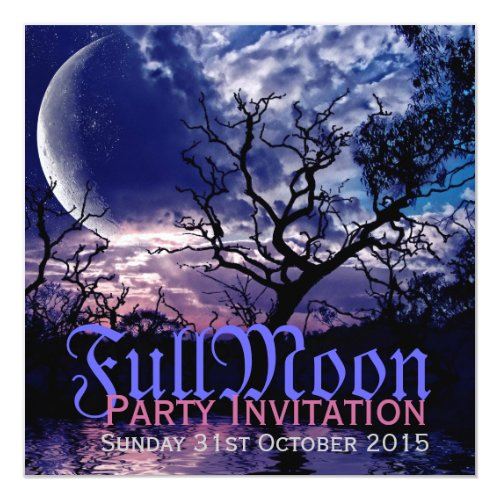 Dark Nature Full Moon Halloween Party Invitations